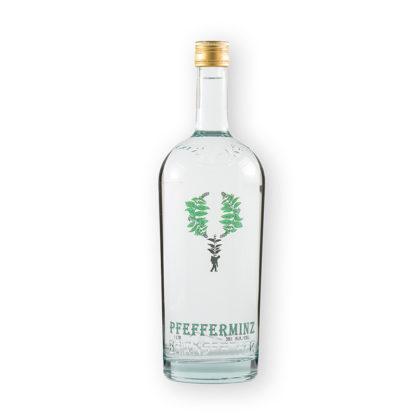 """Pfefferminz je jesenická verze peprmintky (lidově """"zelené""""), vyráběné v čiré verzi v destilérii Bairnsfather. Tato verze v praktické 1l lahvi."""