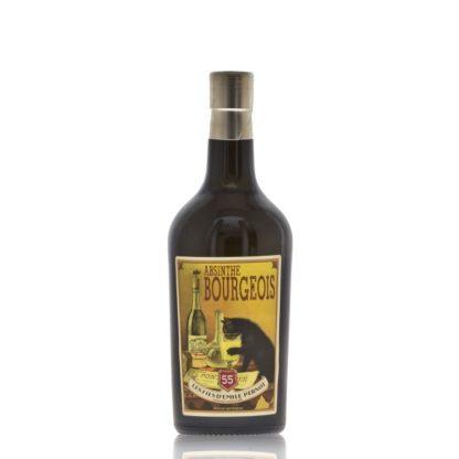 Absinthe Bourgeois s etiketou kočky pijící absinthe. Lehký nádech pelyňku a anýzu, destilován v Les Fils d'Emile Pernot u Pontarlier.