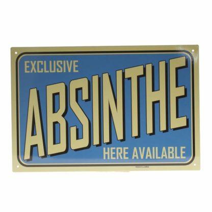 """Ozdobná kovová cedule absinthe v modré barvě s nápisem: """"Exclusive ABSINTHE here available""""."""