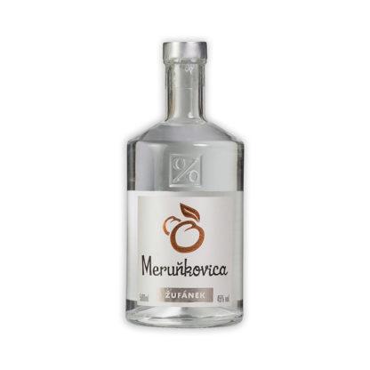 Meruňkovica z nejsladších meruněk vypěstovaných v sadech rodiny Žufánků a pečlivě vypálených do podoby průzračného destilátu s vynikající chutí.